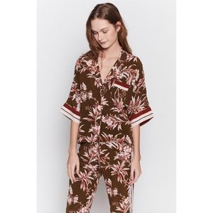 JOIE Bayley Tropical Print Stripe Contrast Top - M